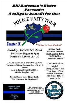 Join us on Sunday December 22nd for our #tailgate benefit for the Policy Unity Tour.  The festivities begin at 3pm. The #Patriots & #Ravens game starts at 4:30 pm.   We are offering a $30 all you can eat buffet of wings, burgers, dogs, brats & more! Draft beer included while supplies last.   AND BEST OF ALL...we are having special Super Bowl Ticket Raffle. Win 2 seats to the Big game!   Details: http://billbateman.com/havre_grace.php