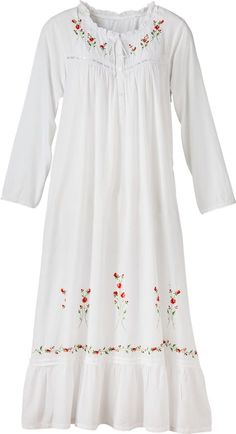 Embroidered white nightgown features embroidered red roses, neckline finished with ruffles, and adjustable tie. This womens woven-cotton nightdress is ideal for any season. Designer Kurtis, Designer Dresses, Night Gown Dress, Cotton Nighties, Pijamas Women, White Nightgown, Night Dress For Women, Nightgowns For Women, Embroidery Fashion