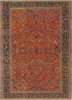 "KEIVAN WOVEN ARTS,  Circa :1900 Type :Serapi Origin :Iran Design :All Over Material :Wool Texture :Pile Size : 13'4""x19'2"""
