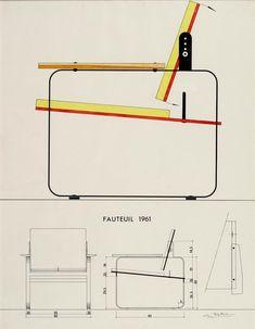 Guy Rottier _ Fauteuil, 1961 - Pratical Information Steel Furniture, Diy Furniture, Modern Furniture, Furniture Design, Archi Design, Industrial Chair, Deck Chairs, Furniture Inspiration, Chair Design