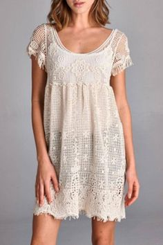 Semi-loose fit, short sleeve, scoop round neck, baby doll dress. Scoop round back. This dress is made with crochet fabric that is lightweight and has no stretch. Great with a tank top dress underneath.   Lace Dress by Cherish. Clothing - Dresses - Mini Clothing - Dresses - Lace Oregon