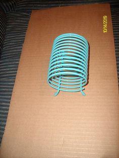 Free Shipping--Turquoise Painted Metal Desk Organizer. $14.00, via Etsy.