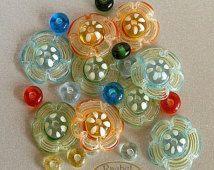 Rainbow Lampwork Flower Glass Beads Set, Supplies of Handmade Glass Disc Beads (21)