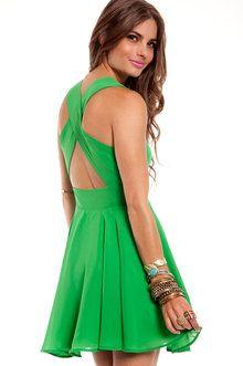 Twirl Around Cross Back Dress in Green