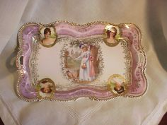 RS PRUSSIA FIVE PORTRAIT OH TRAY WITH GOLD