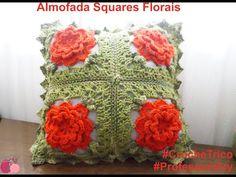 Crochê  - Almofada Squares Florais Crochet Pillow Pattern, Knit Pillow, Crochet Cushions, Crochet Motif, Crochet Designs, Crochet Flowers, Crochet Books, Thread Crochet, Crochet Granny