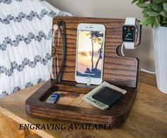 Are you looking for unique docking station, gift for a boyfriend, or a gift for him, then check out this wooden docking station that makes a great personalized men's gift that serves as a docking station, desk organizer and personalized wood valet to get  http://www.giftideascorner.com/christmas-gifts-dad/
