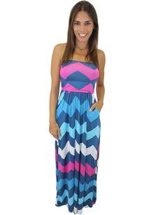 Blue Chevron Maxi Dress with Pockets – Debra