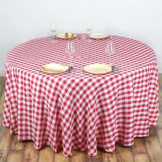 "White/Red 120"" Round Checkered Polyester Picnic Tablecloth - Now you can relish that spring picnic feeling any time anywhere with our Perfect Picnic Inspired Checkered Polyester tablecloths. The inspiring and recreational checkered design brings back the memories of happy picnic times in gardens and by the river side. Create a peaceful and serene party ambiance with our luxury Polyester tablecloths fashioned in chic checkered design to exude positive energy and a classy look to your…"