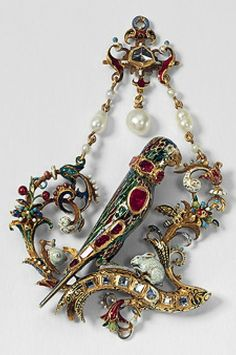 A Renaissance pendant in the shape of a parrot, 1560-1570, southern Germany. The richly decorated pendant is a typical example of animal designs in Renaissance jewellery. The parrot is regarded as a symbol of the Virgin, and the hare and snail in this context stand for female virtues. #Renaissance #antique #pendant