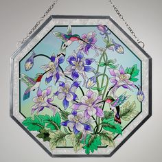 Home Columbine Stained Glass Panel Multi Jewel