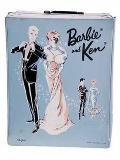 Vintage Barbie & Ken Trunk Case 1960s Ponytail Blue Vinyl