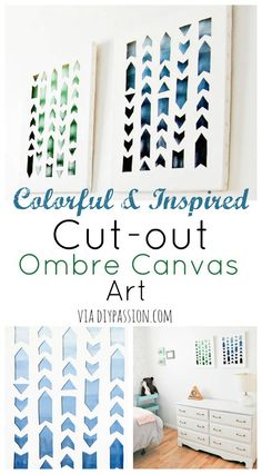 Colorful & Inspired Cut-out Ombre Canvas Art