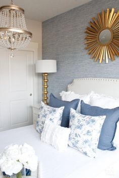 Sharing our small guest bedroom reveal today with blue faux grasscloth wallpaper, gold and brass metal accents, bright white bedding, and feminine touches! Guest Bedroom Decor, Glam Bedroom, Room Ideas Bedroom, Cozy Bedroom, Guest Bedrooms, Bedroom Furniture, Summer Bedroom, Master Bedrooms, Bedroom Apartment