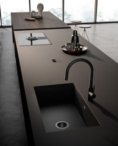Kitchen Sink Design, Glass Kitchen, Modern Kitchen Design, Interior Design Kitchen, Modern Design, Dream Home Design, House Design, Kitchen Collection, Cuisines Design