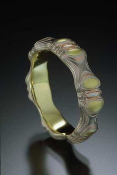 Mokume Gane carved ring by artist James Binnion