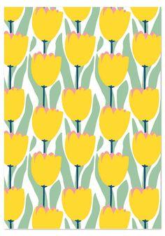 Tulppaanit (keltaiset pienet) postikortti