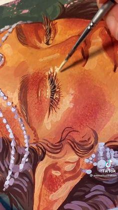 Gouache Painting, Painting & Drawing, Art Drawings Sketches Simple, Tattoo Sketches, Arte Sketchbook, Diy Canvas Art, Art Tutorials, Cute Art, Watercolor Art