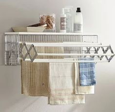 Shop wallmount drying rack from Pottery Barn. Our furniture, home decor and accessories collections feature wallmount drying rack in quality materials and classic styles. Drying Rack Laundry, Laundry Room Organization, Laundry Room Design, Organization Ideas, Drying Racks, Laundry Storage, Storage Ideas, Ironing Board Hanger, Ironing Boards