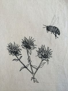 BZZZZ..... a nice fuzzy bumbler, pictured here with wild bergamot, a native MN wildflower. The bee and the flower were both hand drawn, then
