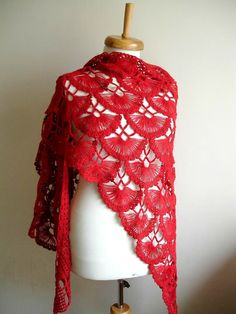 Red Shawl,   New Season  Red Triangle Shawl By Crochetlab, Mohair, Ready To Ship, Gift for Her