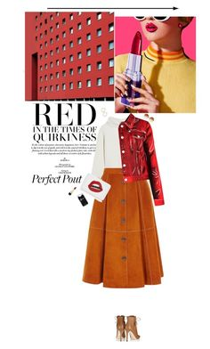 """""""When you're sad,wear Red"""" by miss-milika ❤ liked on Polyvore featuring Haider Ackermann, Karen Millen, Mark Cross, Moschino, Linda Farrow, Jimmy Choo, Dolce&Gabbana, Kate Spade and Nordstrom"""