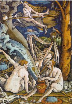 Witches by Hans Baldung Grien (Woodcut, in Tudor Times Wiccan, Pagan, Hans Baldung Grien, Renaissance, Medieval Witch, Albrecht Dürer, Maleficarum, Hans Holbein, Vikings