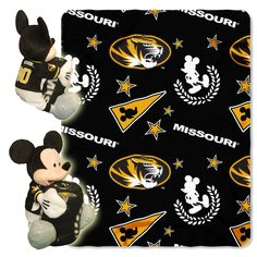 """Missouri OFFICIAL Collegiate & Disney Cobranded, Mickey Mouse Hugger Character Shaped Pillow and 40""""x 50"""" Fleece Throw Set by The Northwest Company"""