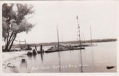 Vintage RPPC Photo Postcard  Boat Club SUTTON'S BAY Michigan Nr Traverse City MI