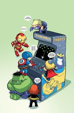 Young Avengers Playing Thanos Arcade Game - Skottie Young Art - News - GeekTyrant Baby Avengers, The Avengers, Young Avengers, Hawkeye Avengers, Avengers Humor, Marvel Dc Comics, Marvel Art, Marvel Heroes, Marvel Kids