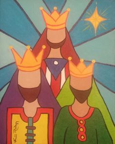 Three Kings 2/3 Abstract  8x10 Acrylic   By Katherine Rodriguez