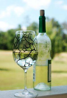 Black Tree Wine Glasses by MaryElizabethArts.com