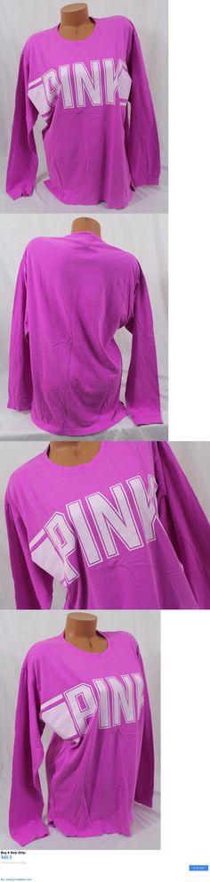 Women T Shirts: Victorias Secret Pink Sz M ~Campus Long-Sleeve Tee~Shirt, Fuchsia White Block BUY IT NOW ONLY: $40.5 #priceabateWomenTShirts OR #priceabate