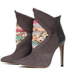 One of a kind! Unique limited edition high-heeled ankle boots combining leather and suede with a special motif made of hand-woven kilim