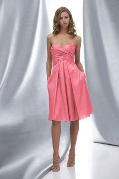 Fancy A-line dropped waist taffeta dress for bridesmaid