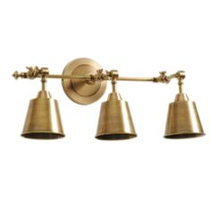 Guest Bath Barbara Cosgrove Library Three Light Antiqued Brass Wall Sconce BC892