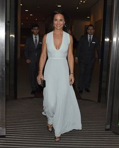 Pippa Middleton looked as gorgeous as ever in a pale blue gown as she left a fundraising ball on Wednesday evening.