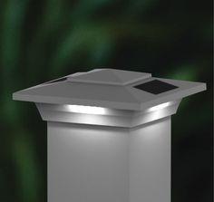 Solar Deck & Fence Post Cap Lights | Set of 2 White 4x4 Low Profile