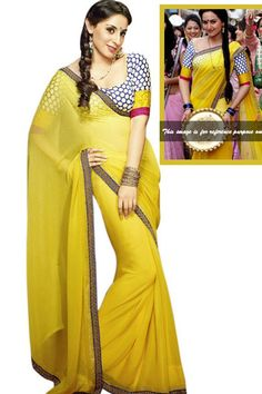 Dabangg 2 Yellow Chiffon Designer Saree with Blouse Fabric - Chiffon Color - Yellow More details  Reference : VLR4119 http://valehri.com/sarees/87-dabangg-2-yellow-chiffon-designer-saree-with-blouse.html