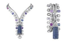 Van Cleef & Arpels Zip necklace in white gold set with diamonds, cushion-cut multicoloured sapphires and sapphires