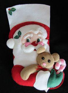 Bucilla Santa and Bear - Completed Christmas Love, Felt Ornaments, Christmas Stockings, Decoration, Santa, Stitch, Holiday Decor, Projects, Pattern