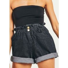 High Waisted Shorts, Denim Shorts, Black Denim, Short Dresses, Cute Outfits, Shopping, Tops, Fashion, High Wasted Shorts