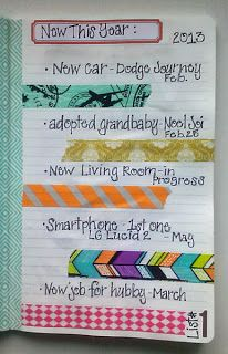 30 days of lists with washi tape and collage
