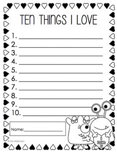 "Valentine's Day ""Ten Things I Love"" list writing template"