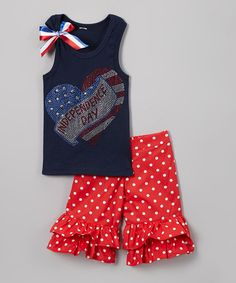 Look what I found on #zulily! Navy 'Independence Day' Tank & Ruffle Shorts - Toddler & Girls #zulilyfinds