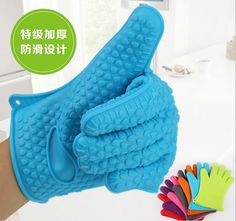 20PCS/lot Kitchen Cooking Gloves Microwave Oven Non-slip Mitt Heat Resistant Silicone Gloves Cooking Baking BBQ Gloves 142g/pcs