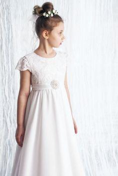 sukienki komunijne - communion dress - Szyfonowa sukieneczka komunijna szeroka