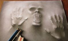 FORM - This artist uses various shading and shading values to depict a skeletal form possibly buried underneath sand.