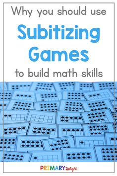 Subitizing improves number sense and math fact fluency. These 4 engaging activities help kindergarten and first grade students to develop subitizing skills. Number Sense Kindergarten, Number Sense Activities, Kindergarten Math Games, Ten Frame Activities, Subitizing Activities, Division Math Games, 1st Grade Math, Grade 1, Math Fact Fluency