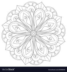 Adult coloring bookpage a zen mandala image for vector image on VectorStock Mandala Coloring Pages, Free Coloring Pages, Coloring Books, Dot Painting, Painting & Drawing, Cake Boxes, Mandala Art Lesson, Doodle Patterns, Zen Art